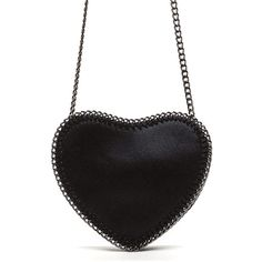 BLACK Heartfelt Wish Vegan Leather Crossbody Bag ($29) ❤ liked on Polyvore featuring bags, handbags, shoulder bags, black, mini crossbody, mini crossbody purse, chain strap shoulder bag, mini crossbody handbags and faux leather shoulder bag