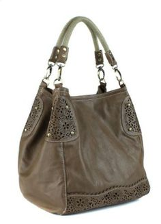 "Scarleton Laser Cut Handbag H1080 Price: $29.99 & FREE Shipping and Free Returns. Details You Save: $68.01 (69%)        Faux leather with fabric lining; Snap closure.     A small bag with zipper closure.     Inside cell phone, multifuntional slip and zip pocket.     Braided dual handles:10"".     Size:12""x11""x9.5""."
