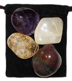 PSYCHIC INTUITION Tumbled Crystal Healing Set - 4 Gemstones w/Description and Pouch - Amethyst, Bloodstone, Citrine, and Moonstone. $4.99, via Etsy.