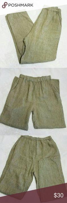 "Flax Jeanne Engelhart 100% Linen Casual Pants -Excellent used condition- no signs of wear -Two front pockets Please use measurements for best fit, all measurements are taken laying flat: -Waist 13"" -Inseam 28"" -Front Rise 13""  -100% Linen -Caramel/khaki color (colors' appearance may vary on screen)  Questions? Just ask! Bundle to save!  Offers welcome  Happy Poshing! Flax Pants Trousers"