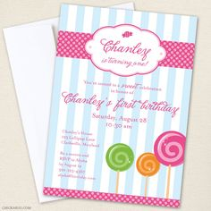 Lollipop party - Set of 15 custom invitations - Printable file also available. $30.00, via Etsy.