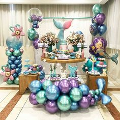 QIFU Metal Balloons Event Party Supplies Round Metallic Ballons Metal Baloon Wedding Birthday Party Decorations – Home & Garden Mermaid Theme Birthday, Little Mermaid Birthday, Little Mermaid Parties, Birthday Kids, Happy Birthday, Balloon Decorations, Birthday Party Decorations, Party Themes, Party Ideas