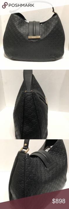 "Gucci Black Leather GG Bag Great Gucci Bag in Black Leather featuring a strap to close bag, and an inside pocket with a spacious interior.  It is great for everyday wear.  Is in excellent condition, we ask you please look at pics for details.  We ship within 1 business day.  All items are authenticated before they are put online or in store.  Serendipity has been in business for 23 years selling high end bags, and accessories.  Strap measures 6"". Gucci Bags Shoulder Bags"