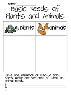 A basic needs of plants and animal worksheet. This also includes several handouts and a mini-booklet on parts of a Truffula Tree (from Dr. These can be done as a whole group, small group, or independently. Science Topics, Science Worksheets, Science Lessons, Science Activities, Life Science, Free Worksheets, Kindergarten Science, Elementary Science, Science Classroom