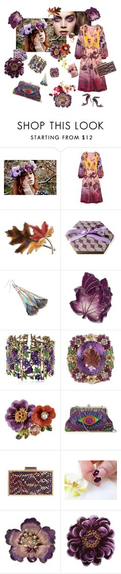 """""""Purple floral"""" by vualia ❤ liked on Polyvore featuring Tom Ford, Matthew Williamson, Anne Klein, Avon, Les Néréides, Sarah's Bag, Roland Mouret, Abyss & Habidecor, floral and purple"""