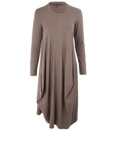 Oska Lilac Hewin Long Sleeve Jersey Scoop Neck Dress | Womenswear |Liberty.co.uk