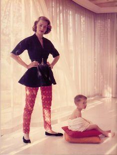 LAUREN BACALL (& son) Wearing Rudi Gernreich tunic & skinny pants. 50's. From 'California Fashion' by Marian Hall (minkshmink)
