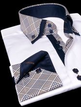 NON FITTED White Shirt Tartan Lining Double Collar, Regular-fit - Dress Shirts for Men - French-Shirts.com