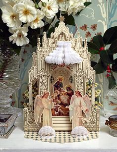 Christmas Shop: Deluxe Cathedral Nativity Scene 3-D Christmas Card Decoration on Blumchen.com