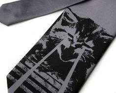 Our beloved laser cat tie - shown first in black ink on silver. Standard or narrow width silk necktie. ANGRY LASER KITTEN necktie - pew pew pew pew!