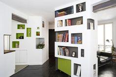 cool built in shelves / bookcase idea - creative... abstract... mod design