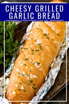Delicious Cheesy Grilled Garlic Bread is made right on your grill! You are going to love this perfectly toasty, crunchy garlic bread with cheese! The perfect side dish for your meal on the grill! #grill #grilled #cheese #bread #garlic #garlicbread #grilling #recipe #easy #easyrecipe #sidedish #gimmesomegrilling Easy Appetizer Recipes, Easy Cake Recipes, Great Recipes, Appetizers, Garlic Cheese Bread, Cheesy Garlic Bread, Best Bread Recipe, Banana Bread Recipes, Side Dishes Easy