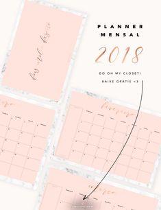 Chegou o novo modelo de planner mensal 2018 do Oh My Closet! <3 - Um design minimalista com dois detalhes que amamos: mármore e rosa blush. Vem pro blog ver e fazer o download grátis! - 2018 Monthly planner - Minimal design in marble and blush pink - free download.