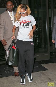 19ec16e9f9959c Rihanna wearing Jordan XIII- He Got Game Jordan 13