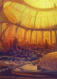 "100 Imaginative ""Cities of the Future"" Artworks - Hongkiat Fantasy City, Fantasy Places, Fantasy World, Futuristic City, Futuristic Architecture, Architecture Images, Space Architecture, Fantasy Concept Art, Steampunk"