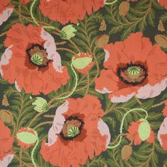 Orange Poppy Fabric |   'Romanos' - Terracotta - Sanderson  Rare vintage 70's fabric sourced from Fabulous Vintage (an online shop in Sydney )