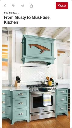 Teal Kitchen Cabinets And Matching Range Hood Cover Marble Countertops White Subway Tile Backsplash Beach Cottage Remodel