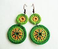 Náušnice - Zelené dvojbodky - 6898534_