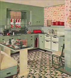 """1935 Armstrong Kitchen    Armstrong published not only color ads, which were often the only color pages in many Depression Era magazines, but widely distributed brochures. This kitchen came from """"The Story of the Five Dream Kitchens"""" which ranged from cozy like this to modern and Asian styles. See Antique Home & Style"""