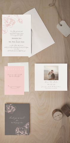 The Illustrated Rose wedding invitations with matching RSVP card, Save the Date, and thank you card.