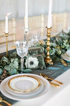 Garland and gold accents: http://www.stylemepretty.com/little-black-book-blog/2015/05/29/rustic-elegant-wedding-inspiration-at-the-dixie-gin/ | Photography: Brandi Smyth - http://brandismythphotography.com/