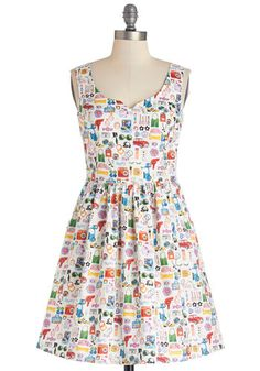 The Mod Life Dress - Multi, Novelty Print, Pockets, Casual, Fit & Flare, Tank top (2 thick straps), Better, Mid-length, Cotton, Woven, A-line, Exclusives, Variation, Sweetheart
