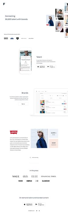 Clean, minimal One Pager with good whitespace for 'Feels' - an app that helps influencers and creators collaborate with brands. Love how they handled the multiple client logos with a subtle animation vs a slider. Quick shout out to this monster .com domain O_o