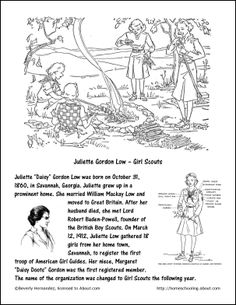 Girl Scout Fpunder's Day Juliette Gordon Low - Girl Scouts Coloring Page