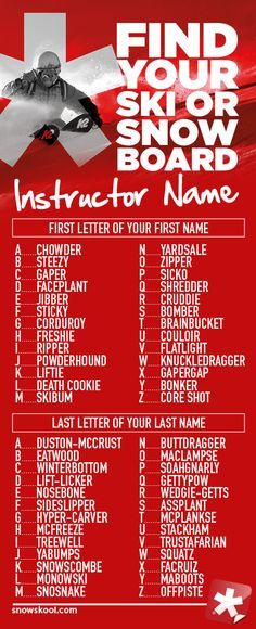 A fun graphic from SnowSkool - Find your ski instructor or snowboard instructor name and share it here with us -  Signed Freshie McFreeze ;)