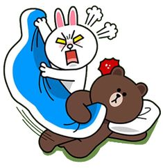 Angry Cony snatches Brown's blanket.