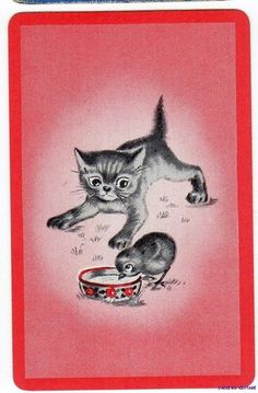 Vintage  Playing Card  Kitten & Chick