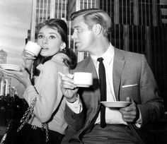 Audrey Hepburn and George Peppard on the set of Breakfast at Tiffany's,1961