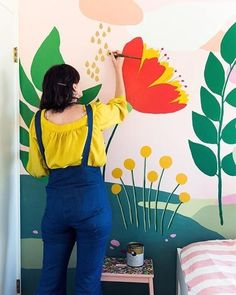 Easy Playroom Mural Design Ideas For Kids 08 Playroom Mural, Wall Murals Bedroom, Kids Room Murals, Murals For Kids, Kids Rooms, Bedroom Wallpaper, Wallpaper Ideas, Diy Wall Painting, Mural Painting