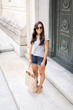 Gray flutter sleeve top with denim shorts. Mom friendly summer outfit – Brooke o… Gray flutter sleeve top with denim shorts. Mom friendly summer outfit – Brooke of Pumps & Push Ups Summer Outfits Women 30s, Summer Outfits For Moms, Summer Fashion Outfits, Short Outfits, Women's Fashion, Spring Outfits, Shorts Outfits Women, Fashion Quotes, Summer Clothes