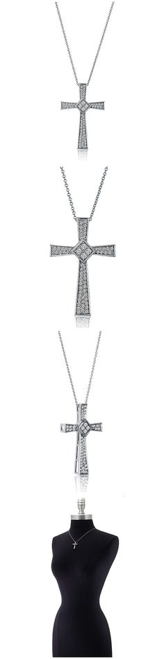 Sterling Silver CZ Cross Fashion Necklace