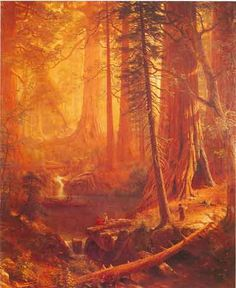 Albert Bierstadt, Giant Redwood Trees of California Fine Art Reproduction Oil Painting