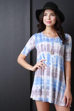 Tie Dye Stripe Shift Mini Dress