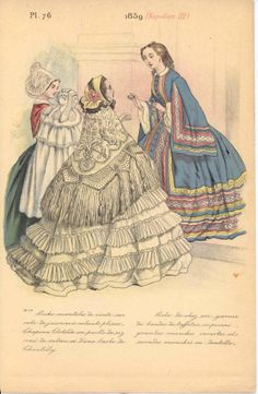 Although this is 1859, ladies didn't stop wearing this style in 1861 anymore than we stopped wearing our 1999 T-shirts in 2001.   Well, maybe not the Y2K t-shirt...