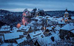 Honshtayn sajona Suiza Sajona Alemania ciudad invierno nieve nubes noche techo…