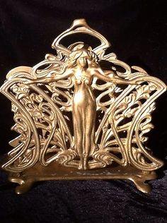 Antique Art Nouveau Lady Nude Bust Cast Iron Letter Holder