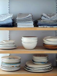 linens on open shelving