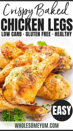 Crispy Baked Chicken Legs Drumsticks Recipe - This 10-minute-prep easy oven roasted chicken drumsticks recipe will make SUPER crispy baked chicken legs that turn out perfectly every time! It's the only guide for how to bake chicken legs you'll ever need. #wholesomeyum #chicken #lowcarb #gluten-free #keto #dinner Crispy Baked Chicken Legs, Oven Baked Chicken Legs, Low Carb Chicken Recipes, Cooking Recipes, Keto Recipes, Roast Chicken Drumsticks, Baked Chicken Drumsticks, Drumstick Recipes Oven, Keto Dinner