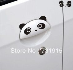 Geely panda doorknob sticker automobile cartoon character engraving sticker label baby in car  US $3.36 /piece