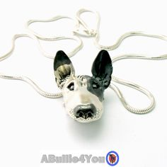 Fully Customized English Bull Terrier Pendant, Handmade from 925 sterling silver. Comes with silver snake chain. by ABullie4You on Etsy (null)