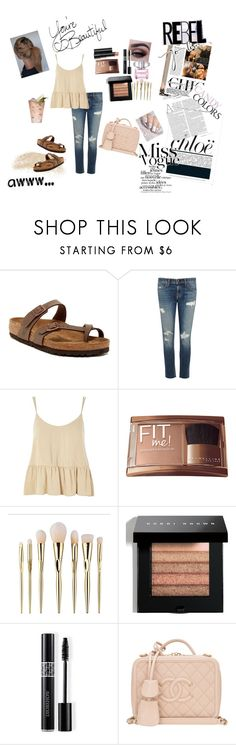 """""""You're Beautiful"""" by morgan2017 ❤ liked on Polyvore featuring Birkenstock, rag & bone/JEAN, Topshop, ULTA, Benefit, Margarita, Bobbi Brown Cosmetics, Christian Dior, Arbonne and Chanel"""