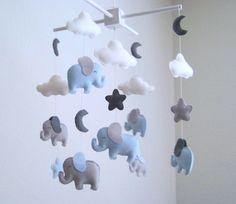 Elefanten baby mobile blauen und grauen von dlgNurseryBoutique