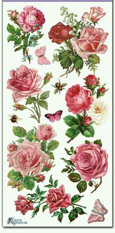 Violette Stickers-PINK ROSES 2 Sheets of the same design, die cut, acid free, clear stickers Measure approx x 8 Great for all paper crafting Made in USA Decoupage Vintage, Vintage Diy, Vintage Ephemera, Vintage Paper, Vintage Images, Flower Images, Flower Art, Vintage Rosen, Paper Craft Making