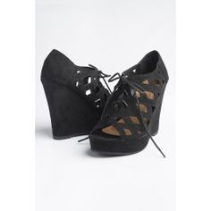 Black cut out suede lace up wedges