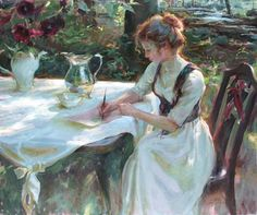 """The woman writing in the garden"""