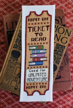 Crochet Bookmarks, Cross Stitch Bookmarks, Cross Stitch Books, Counted Cross Stitch Patterns, Cross Stitch Designs, Cross Stitch Embroidery, Embroidery Patterns, Handmade Bookmarks, Ticket To Read